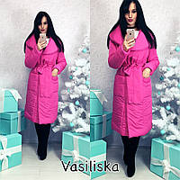 Пуховик-пальто женское с отложным воротником плащевка Канада 6 цветов GV57