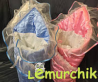 Конверт для новорожденных на выписку и в коляску на синтепоне атласный голубой