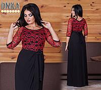 Платье  Вечернее юбка струящийся трикотаж чёрный макси Батал+