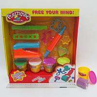 "Тесто для лепки ""Plasticine magical"" 4цв*50g, набор с формочками и инструментами"