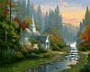 Картины раскраски по номерам 40×50 см. Домик на рассвете Художник Томас Кинкейд