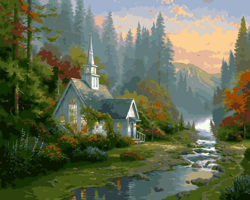 Картины раскраски по номерам 40×50 см. Домик на рассвете ...