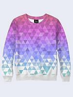 Світшот жіночий 3D Фіолетові трикутнички
