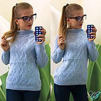 Женский вязанный свитер из акрила и шерсти