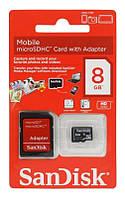 Карта памяти MicroSDHC 8Gb SanDisk Class 10 + (адаптер SD)