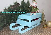 Декор новогодний сани с ящичком