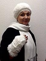 Комплект шапка и перчатки мех вязка кролик белый, фото 1
