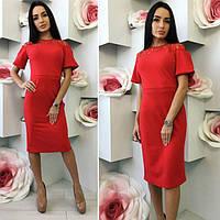 Женское платье Рафаэло с кружевной вставке на шее НОРМА