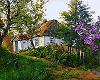 Картины раскраски по номерам 40×50 см. Расцвела сирень возле дома Художник Геннадий Колесной
