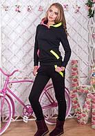 Женски теплый костюм трехнитка  черный