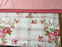 Бязь Прованс с розовыми цветами на клетке, фото 1