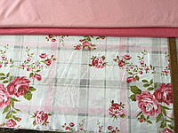 Бязь Прованс з рожевими квітами на клітці, фото 1