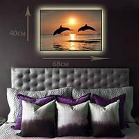 """Светодиодная картина """"Дельфины на закате"""""""