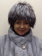 Шапка женская Elisabetta Franchi из чернобурки вязка