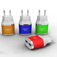 Адаптер на 2 USB 220 V разноцветные
