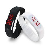 Спортивные LED часы 001 разных цветов, резиновый браслет, часы браслет