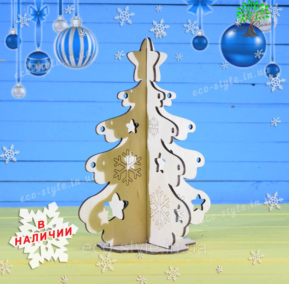 Елка, новогодние игрушки и украшения, деревянная елка на стол