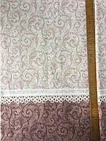 Бязь Прованс з вензелями та мереживом на темно-рожевому і коричневому тлі, фото 1