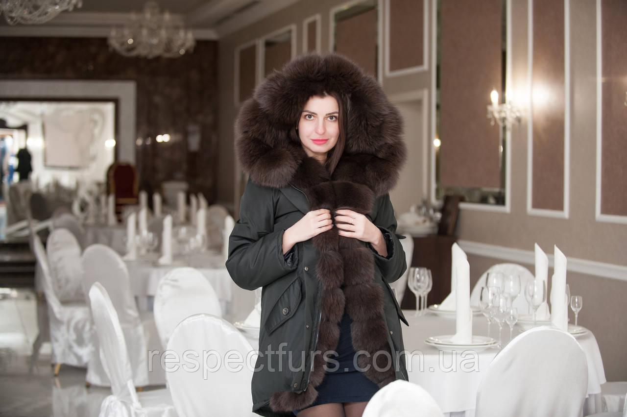 149050c7 Куртка парка с натуральным мехом песца - Respect furs магазин по пошиву  меховых и кожаных изделий