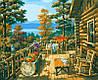 Картины раскраски по номерам 40×50 см. Терраса лесного домика Художник Сунг Ким