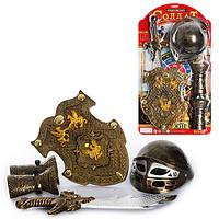 Набор рыцаря 7737 C шлем23см, меч, щит 30-23см, доспехи, мишень, на листе, 63-35-11см