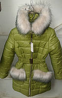 Зимняя куртка девочка 6-12лет Рукавичка