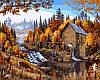 Картины раскраски по номерам 40×50 см. Дом в лесу Художник Марк Далин