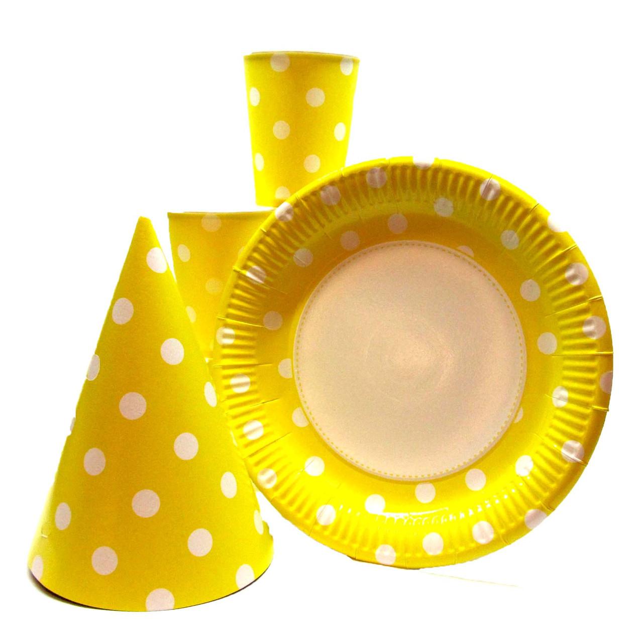"""Набор """"Горох жёлтый"""". Тарелки (23см) -10шт. Стаканчики (250мл) -10шт. Колпачки (16см) -10шт."""