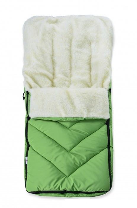 Зимний детский конверт на меху в санки коляску, лайм
