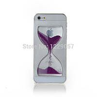 Liquid Crystal Clear Sand Clock Cover Case Purple для iPhone 5/5s
