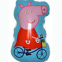 Воздушный фигурный шар свинка пеппа на велосипеде 85см.