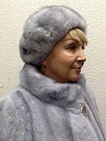 Берет женский норка голубой Sapfir