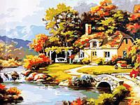Картины раскраски по номерам 40×50 см. Уютный дом у реки Художник Сунг Ким