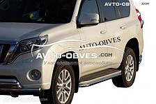 Защита штатного порога Тойота Прадо 150 2009-2013 (окантовка из нержавейки)