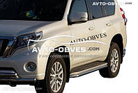 Защита штатного порога для Toyota Prado 150 (окантовка из нержавейки)