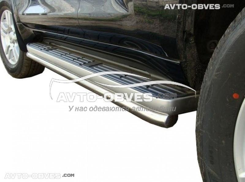 Защита штатного порога для Toyota Prado 150