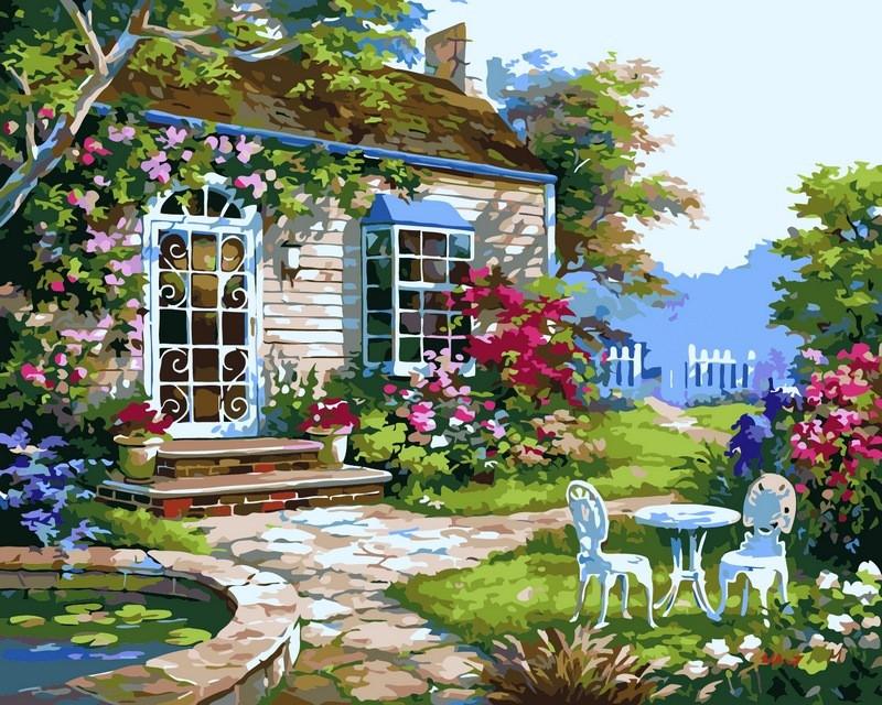 Картины раскраски по номерам 40×50 см. Домик в цветах Художник Сунг Ким, фото 1