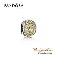 Pandora шарм ЗОЛОТИСТИЙ ШАР ПАВЕ #791051FCZ серебро 925 Пандора оригинал
