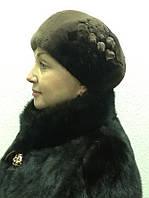 Берет женский мех бобер махагон, фото 1