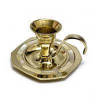 Подсвечник с ручкой бронза с перламутром Восьмигранный (6,5х3,5 см)