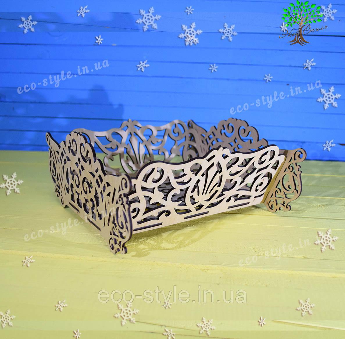 Новогодний декор, подставка для конфет, деревянное лукошко