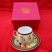 Сервиз фарфор (SCS78) 1 чашка+1 блюдце Танцовщицы (110 мл) (h-5,2см, d-5,3см,блюдце d-11см)