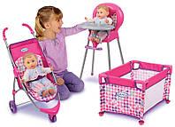 Набор 3 в 1 для кукол до 46 см коляска, манеж, стульчик для кормления. Graco Room Full of Fun Оригинал из Сша