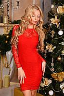 Платье силуэтное гипюр с атласным бантом 9004 (ВИВ)