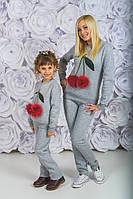 Теплий костюмчик на дівчинку з вишеньками.Розміри 128-152