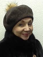 Берет женский коричневый шерстяной с бубоном, фото 1