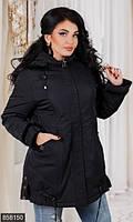 Оригинальная женская куртка прямого фасона на молнии с меховой отеделкой плащевка холлофайбер батал