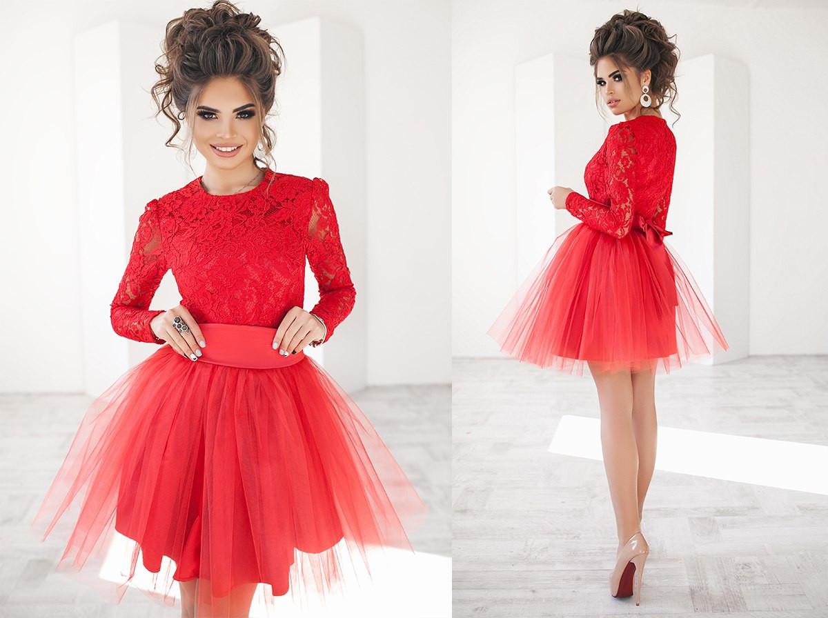 60a40651650 Женское женское платье с фатином и гипюром - Модный Дом - интернет-магазин  женской и