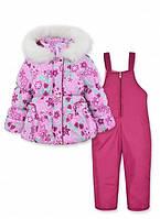 Детский зимний комбинезон на девочку розовый р.98-110