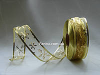 Золотая новогодняя лента органза для бантов с проволочным краем, шириной 3,8 см (1 рулон - 50 ярдов)